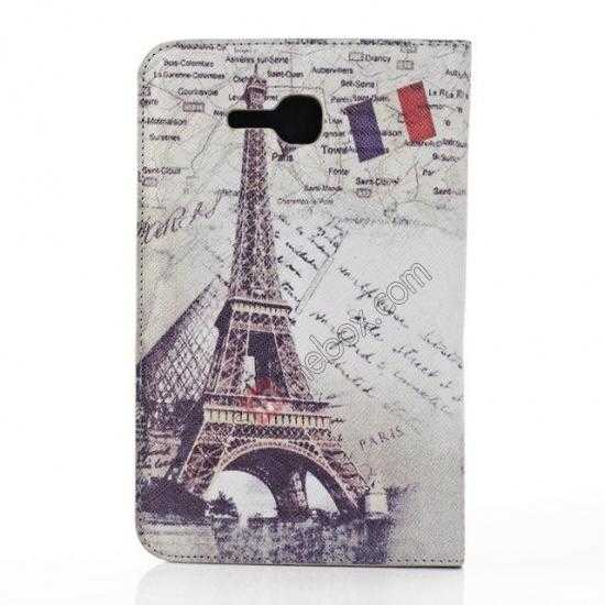 discount Retro Smart Leather Case Stand for Samsung Galaxy Tab 3 7.0 Lite T110 - Eiffel Tower