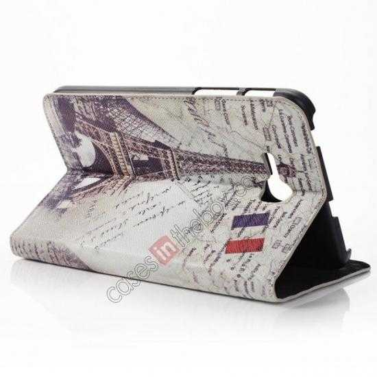 cheap Retro Smart Leather Case Stand for Samsung Galaxy Tab 3 7.0 Lite T110 - Eiffel Tower