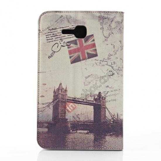 discount Retro Smart Leather Case Stand for Samsung Galaxy Tab 3 7.0 Lite T110 - London Brige
