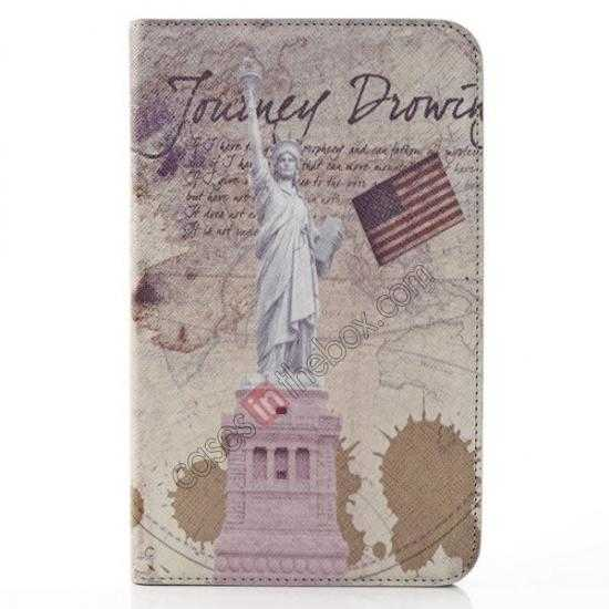 wholesale Retro Smart Leather Case Stand for Samsung Galaxy Tab 3 7.0 Lite T110 - Statue of Liberty