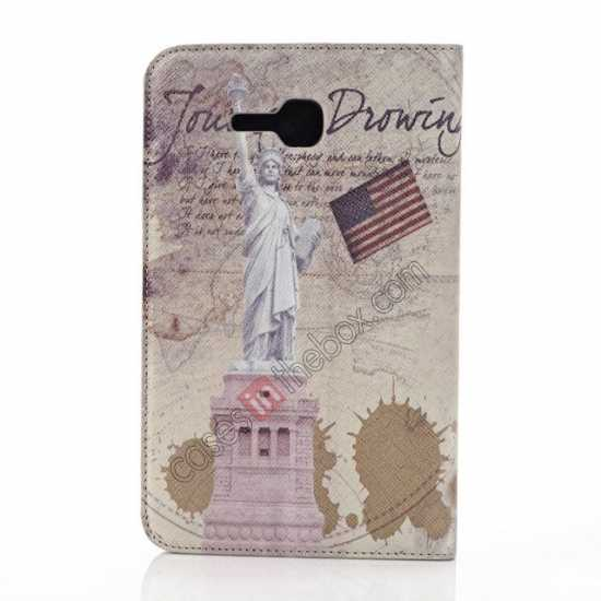 discount Retro Smart Leather Case Stand for Samsung Galaxy Tab 3 7.0 Lite T110 - Statue of Liberty