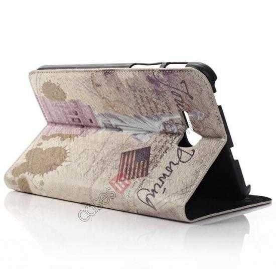 cheap Retro Smart Leather Case Stand for Samsung Galaxy Tab 3 7.0 Lite T110 - Statue of Liberty