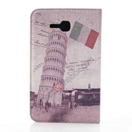 discount Retro Smart Leather Case Stand for Samsung Galaxy Tab 3 7.0 Lite T110 - Towe of Pisa