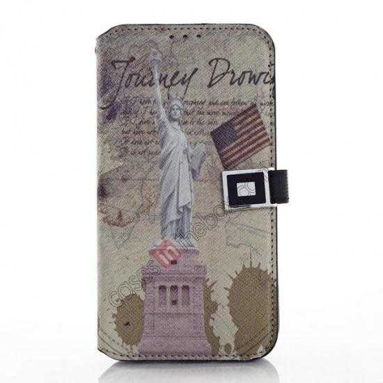 wholesale Retro Statue of Liberty Pattern Folio Wallet Leather Case For Samsung Galaxy S5 G900