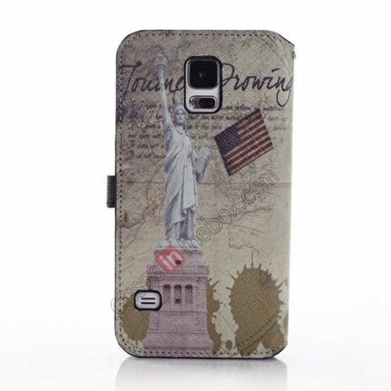 discount Retro Statue of Liberty Pattern Folio Wallet Leather Case For Samsung Galaxy S5 G900