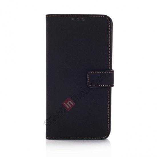 discount Retro Style Stand Leather Flip Case For Samsung Galaxy S5 G900 - Black