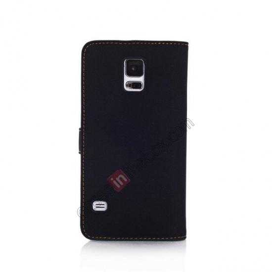 cheap Retro Style Stand Leather Flip Case For Samsung Galaxy S5 G900 - Black