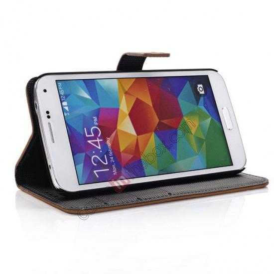 best price Retro Style Stand Leather Flip Case For Samsung Galaxy S5 G900 - Black