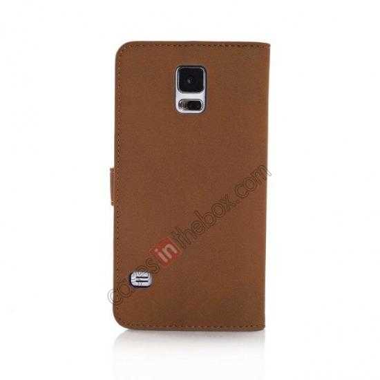 cheap Retro Style Stand Leather Flip Case For Samsung Galaxy S5 G900 - Brown