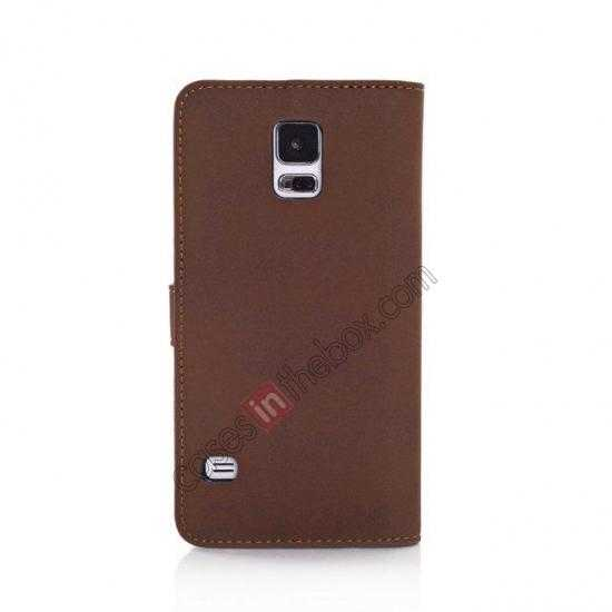 cheap Retro Style Stand Leather Flip Case For Samsung Galaxy S5 G900 - Coffee