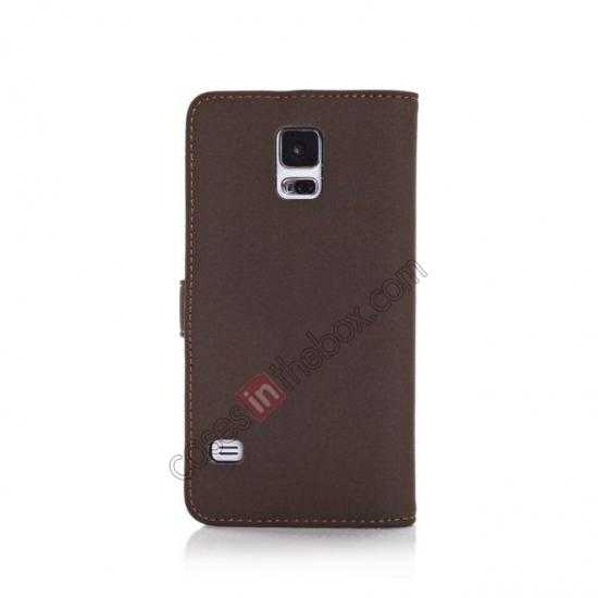 cheap Retro Style Stand Leather Flip Case For Samsung Galaxy S5 G900 - Dark Grey