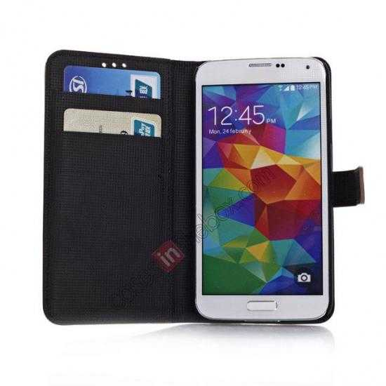 on sale Retro Style Stand Leather Flip Case For Samsung Galaxy S5 G900 - Dark Grey