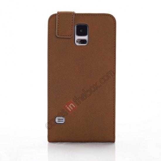 wholesale Retro Style Vertical Flip Leather Case for Samsung Galaxy S5 G900 - Brown