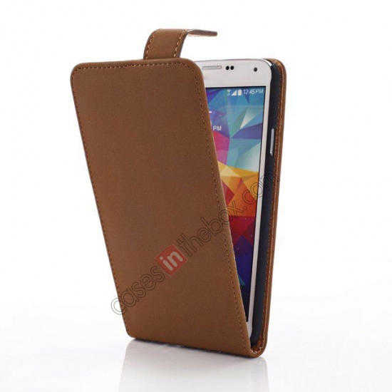 cheap Retro Style Vertical Flip Leather Case for Samsung Galaxy S5 G900 - Brown