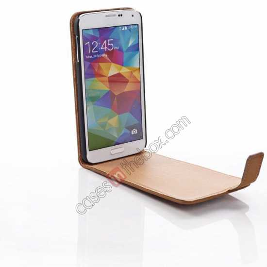 top quality Retro Style Vertical Flip Leather Case for Samsung Galaxy S5 G900 - Brown