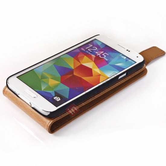 best price Retro Style Vertical Flip Leather Case for Samsung Galaxy S5 G900 - Brown