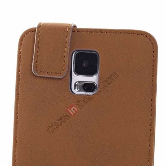 on sale Retro Style Vertical Flip Leather Case for Samsung Galaxy S5 G900 - Brown