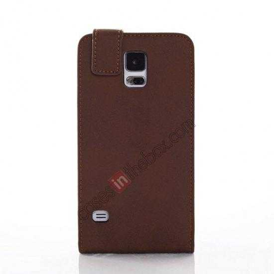 wholesale Retro Style Vertical Flip Leather Case for Samsung Galaxy S5 G900 - Coffee