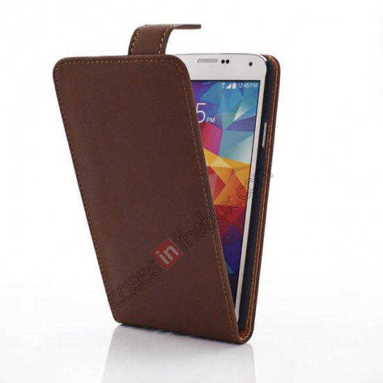 cheap Retro Style Vertical Flip Leather Case for Samsung Galaxy S5 G900 - Coffee