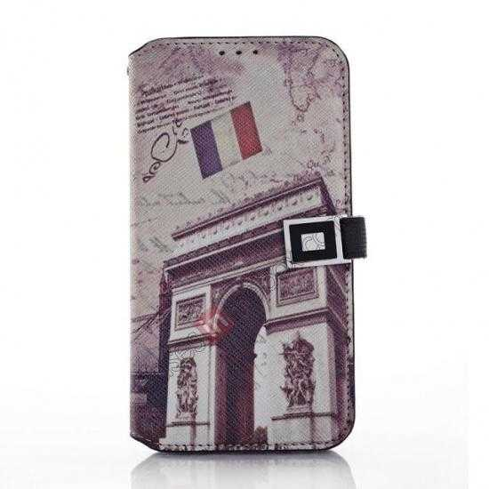wholesale Retro Triumphal Arch Pattern Folio Wallet Leather Case For Samsung Galaxy S5 G900