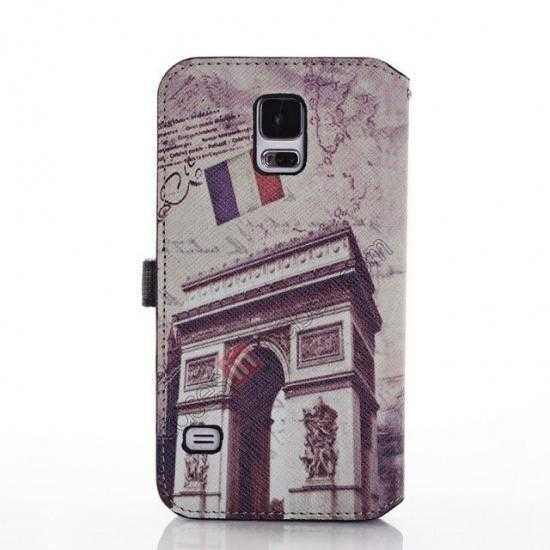 discount Retro Triumphal Arch Pattern Folio Wallet Leather Case For Samsung Galaxy S5 G900