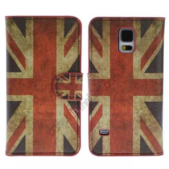 wholesale Retro UK Flag Pattern Wallet Style Stand Leather Case For Samsung Galaxy S5