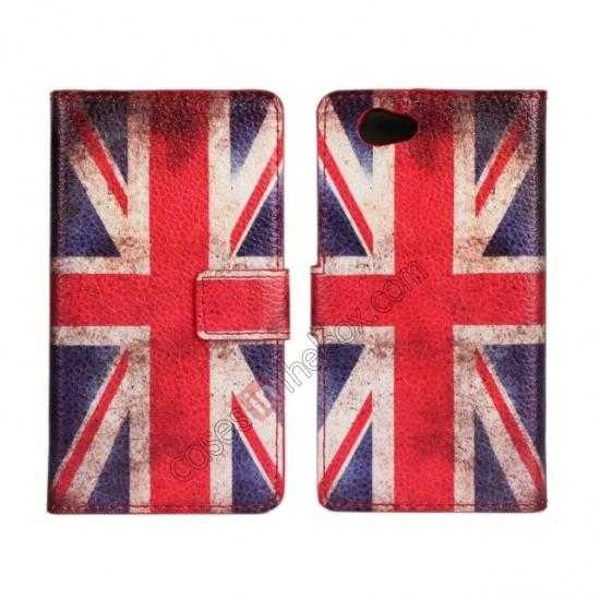 wholesale Retro UK Flag Wallet PU Leather Stand Case For Sony Xperia Z1 Compact(M51W)