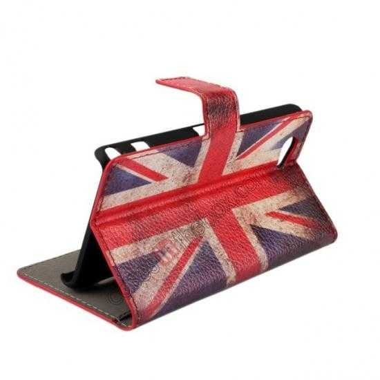 cheap Retro UK Flag Wallet PU Leather Stand Case For Sony Xperia Z1 Compact(M51W)