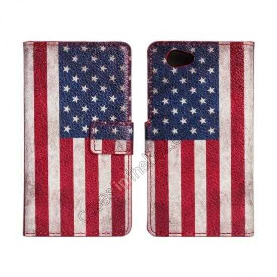 wholesale Retro USA Flag Wallet PU Leather Stand Case For Sony Xperia Z1 Compact(M51W)