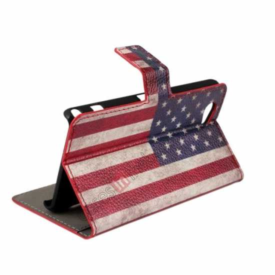 cheap Retro USA Flag Wallet PU Leather Stand Case For Sony Xperia Z1 Compact(M51W)