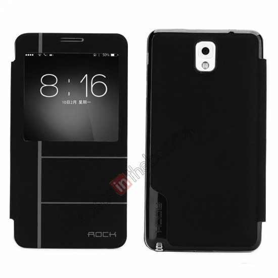wholesale Rock Auto Sleep/Awake Leather Flip Case Cover S-View For Samsung Galaxy Note 3 - Black