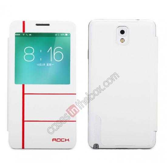 wholesale Rock Auto Sleep/Awake Leather Flip Case Cover S-View For Samsung Galaxy Note 3 - White