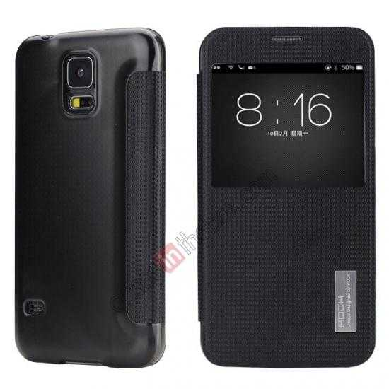 wholesale Rock Elegant Series Side Flip Leather Case Cover For Samsung Galaxy S5 - Black