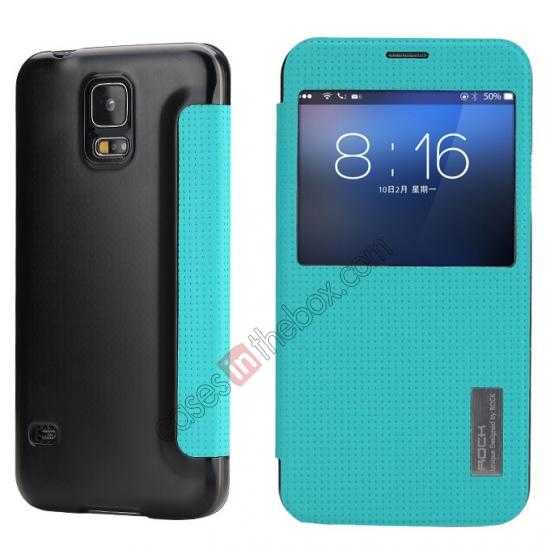 wholesale Rock Elegant Series Side Flip Leather Case Cover For Samsung Galaxy S5 - Blue