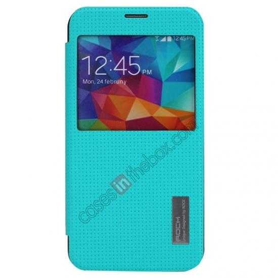 discount Rock Elegant Series Side Flip Leather Case Cover For Samsung Galaxy S5 - Blue