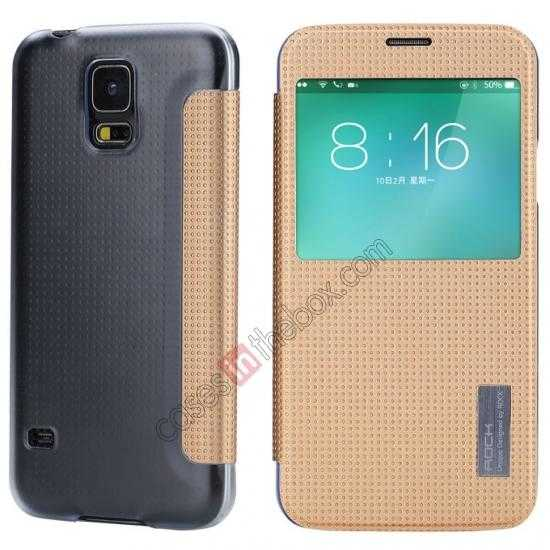 wholesale Rock Elegant Series Side Flip Leather Case Cover For Samsung Galaxy S5 - Champagne Gold