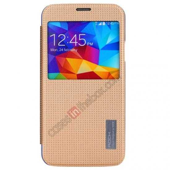 discount Rock Elegant Series Side Flip Leather Case Cover For Samsung Galaxy S5 - Champagne Gold