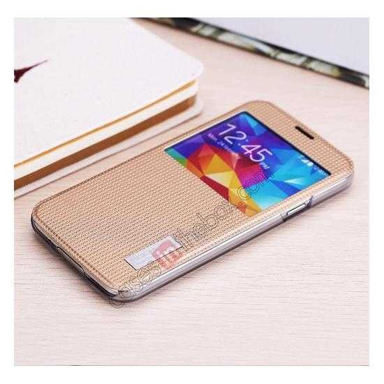 top quality Rock Elegant Series Side Flip Leather Case Cover For Samsung Galaxy S5 - Champagne Gold