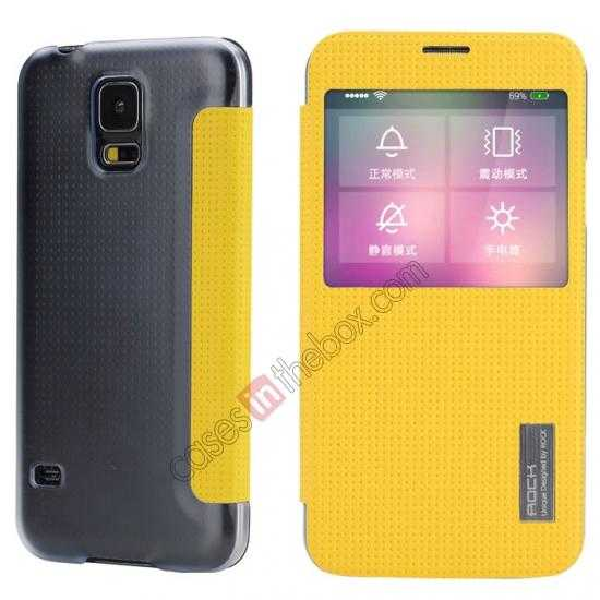 wholesale Rock Elegant Series Side Flip Leather Case Cover For Samsung Galaxy S5 - Lemon Yellow