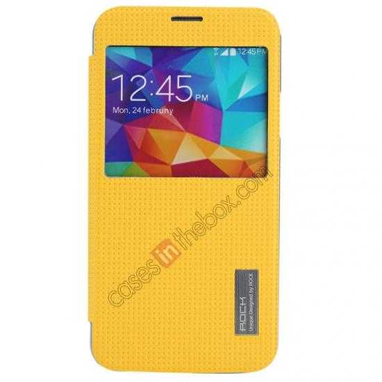discount Rock Elegant Series Side Flip Leather Case Cover For Samsung Galaxy S5 - Lemon Yellow