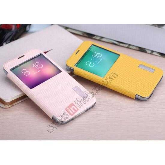 top quality Rock Elegant Series Side Flip Leather Case Cover For Samsung Galaxy S5 - Lemon Yellow