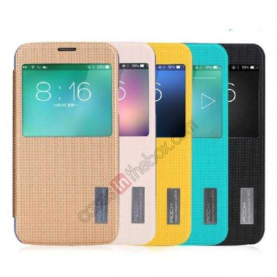 china wholesale Rock Elegant Series Side Flip Leather Case Cover For Samsung Galaxy S5 - Lemon Yellow