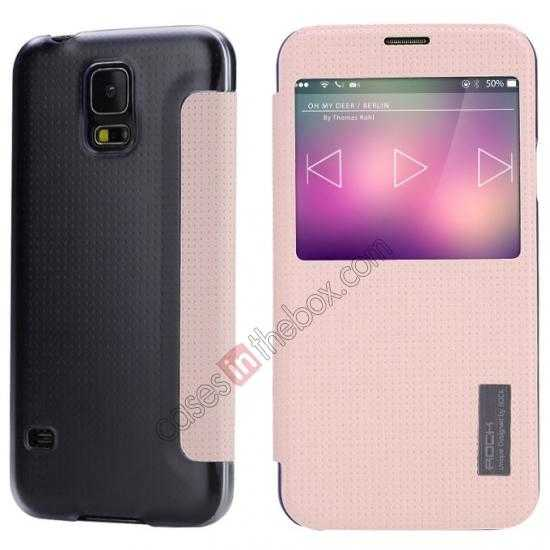 wholesale Rock Elegant Series Side Flip Leather Case Cover For Samsung Galaxy S5 - Pink