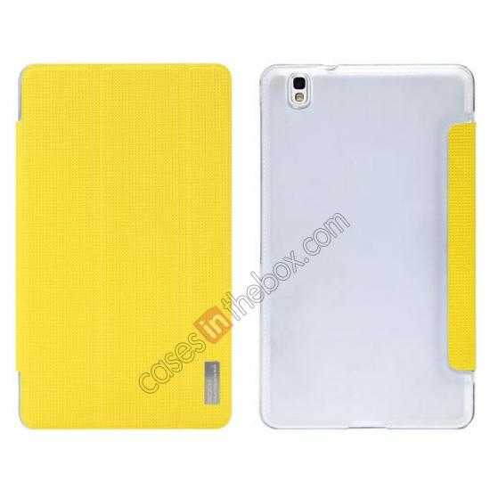 wholesale Rock Elegant Series Tri-Fold Leather Stand Case for Samsung Galaxy Tab Pro 8.4 T320 - Lemon