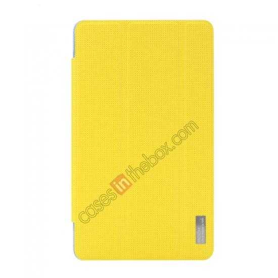 discount Rock Elegant Series Tri-Fold Leather Stand Case for Samsung Galaxy Tab Pro 8.4 T320 - Lemon