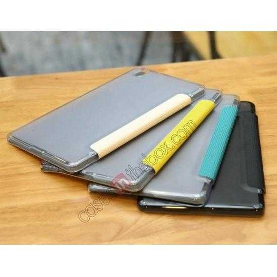 best price Rock Elegant Series Tri-Fold Leather Stand Case for Samsung Galaxy Tab Pro 8.4 T320 - Lemon