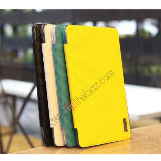 china wholesale Rock Elegant Series Tri-Fold Leather Stand Case for Samsung Galaxy Tab Pro 8.4 T320 - Lemon