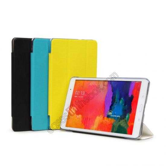 China leading wholesale Rock Elegant Series Tri-Fold Leather Stand Case for Samsung Galaxy Tab Pro 8.4 T320 - Lemon