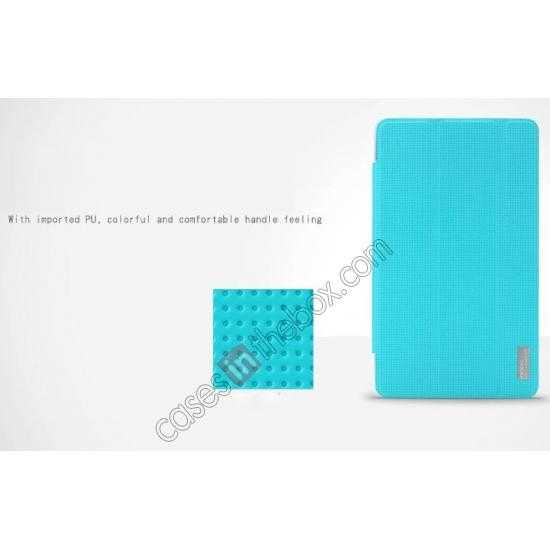 cheap Rock Elegant Series Tri-Fold Leather Stand Case for Samsung Galaxy Tab Pro 8.4 T320 - Sky Blue
