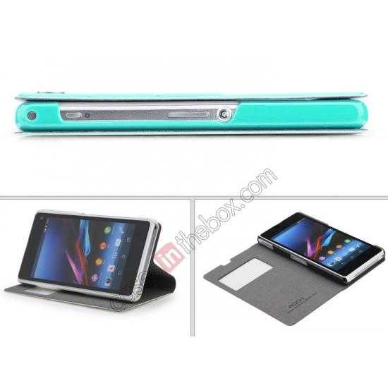 top quality ROCK Excel Series Leather Flip Case for Sony Z1 Mini/Z1 Compact/M51w/D5503 - Blue